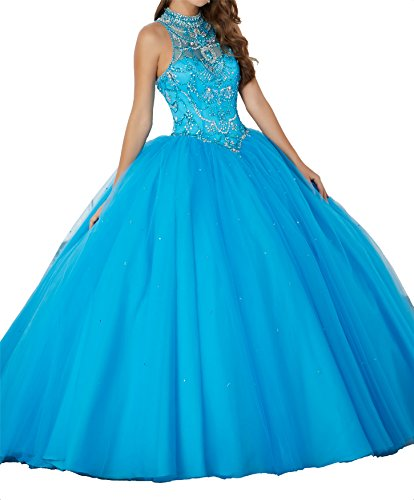 New Gown Quinceanera (TuanYuan Women High Neck Sequin Party Gowns Girls 15 Quinceanera Dress 12 US Turquoise)