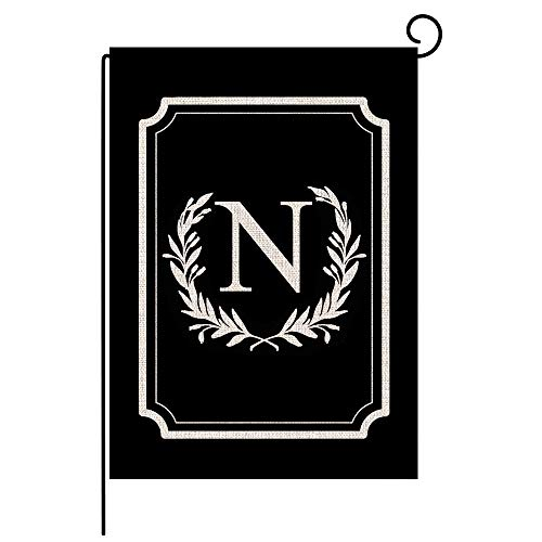 Titiyogo Garden Flag Monogram Flag Letter N Vertical Double Sided Burlap Flag 12.5