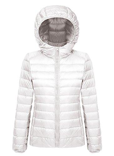 BELLOO Damen Daunenjacke Steppjacke Übergangsjacke zusammenklappbar leicht Winter Warm Jacke mit Kapuze Weiß