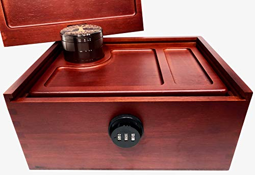 Locking Stash Box with Rolling Tray - Luxury Stash Box with Lock - Large Safe Box with Rolling Trays Stash Boxes (Box with Extra Tray) by SwagGear (Image #3)