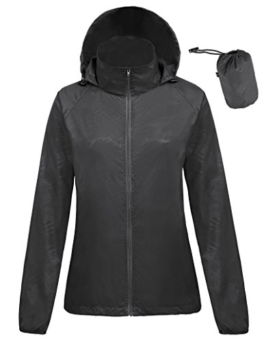Womens Foldable Waterproof Lightweight Golf Jacket Anorak(S,Black1001)