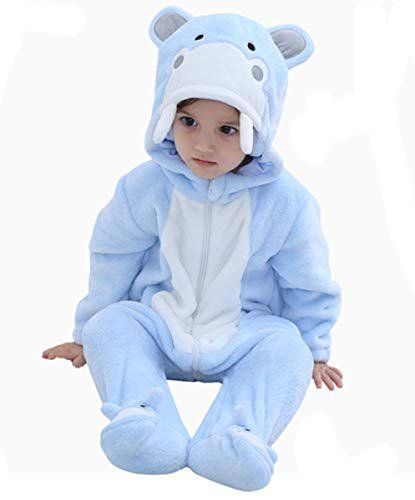 Tonwhar Baby Animal Cat Onesie Romper Halloween Costume (110 Ages 24-30months, Hippos) -