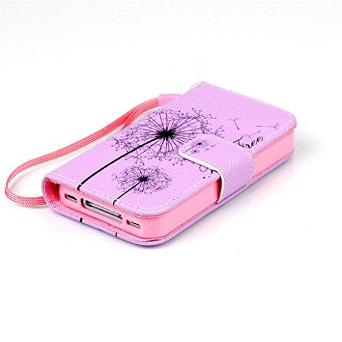 iPhone 4/4S Coque , Apple iPhone 4/4S Coque Lifetrut® [ pissenlits ] [Wallet Fonction] [stand Feature] Magnetic snap Wallet Wallet Prime Flip Coque Etui pour Apple iPhone 4/4S