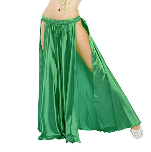 Edith qi Women's Belly Dance Skirts Dancer Accessories with Two Sides Split,Multicolor Green ()