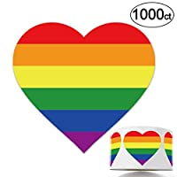 1000 Gay Pride Stickers, Love Rainbow Stickers Roll in Heart-Shaped, Pride Flag Labels for Gifts, Crafts, Envelope Sealing, Lesbian Gay Group Activities.