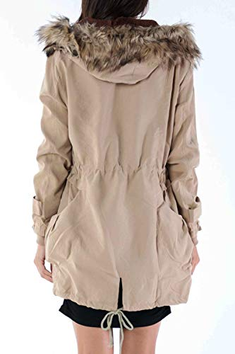 Khaki Zip Thick Women Hooded Pocket with Outwear Jacket Full Fleece qH7ZORv