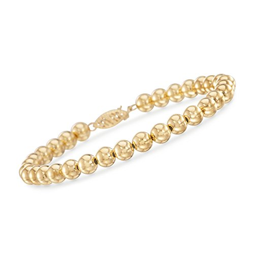 Ross-Simons 6mm 14kt Yellow Gold Bead Bracelet - Gold Bead Bracelet Bangle