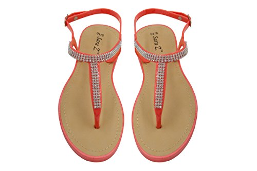 Pcu Color - Sara Z Ladies T-Strap PCU Sandal 7/8 Coral