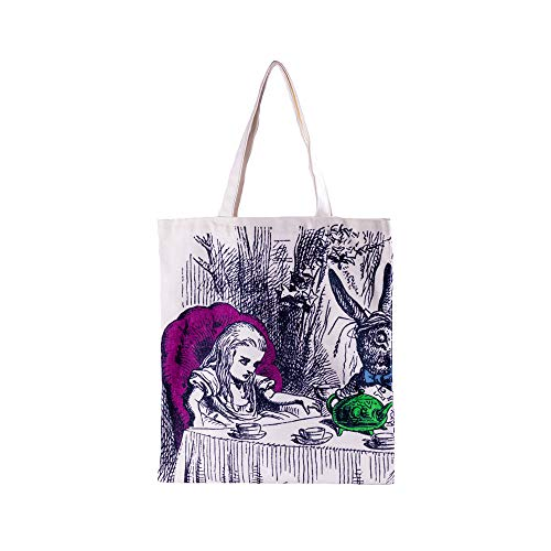Alice in Wonderland Tote Bag Colored Print Double Side Gift Party Carry Bag Shopping Mad Hatter Party