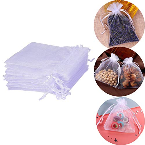 SuperThinker 100Pcs Sheer Organza Bags, Drawstring Pouches for Candy Jewelry Wedding Party Christmas Favor Gift Present Bags Wrap 4x6 Inch (White)