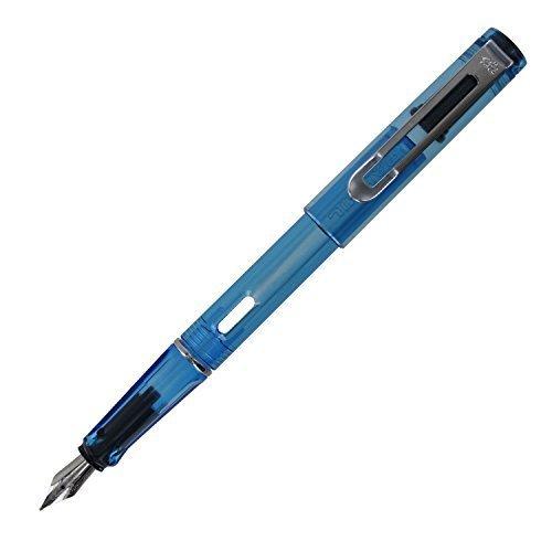 JinHao 599A Demonstrator Plastic Fountain Pen, Medium Nib - Translucent Blue (Pen Translucent Plastic)