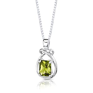 1.50 Carats Genuine Emerald Cut Peridot Sterling Silver Pendant Necklace