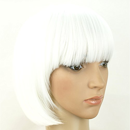 Kocome Colorful Fashion Sexy Girl Cosplay Party Cute Beauty BOB Style Short Hair Wigs (White Bob Wig Costume)
