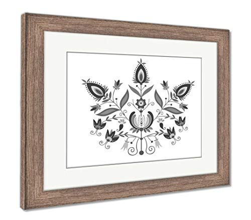 Ashley Framed Prints Polish Folk with Ornamental Floral, Wall Art Home Decoration, Black/White, 34x40 (Frame Size), Rustic Barn Wood Frame, AG5766820 ()