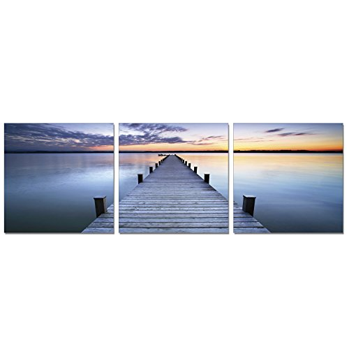 FURINNO F957PS50AC Senic Pier sunrise 3-Panel Acrylic Photography, 60 X 20-In,
