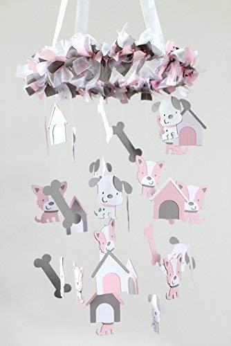 Puppy Dog Nursery Mobile in Light Pink, Gray & White