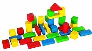HEROS 100050151 - Bloques de construcción de madera (50 piezas)