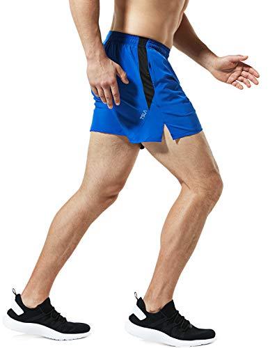TSLA Men's 5 inches Zipped Pocket Lightweight Running Shorts Pace Jogging Mesh Lined, Paceshorts 5inch(mbh25) - Blue, Medium - Lined Running Short
