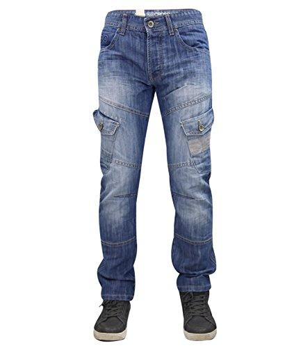 Uomo Di Cargo Regular Sabbiati Leggero Fly Marca Lavaggio Jeans Nuovo Crosshatch Da Bottoni RpqwUq