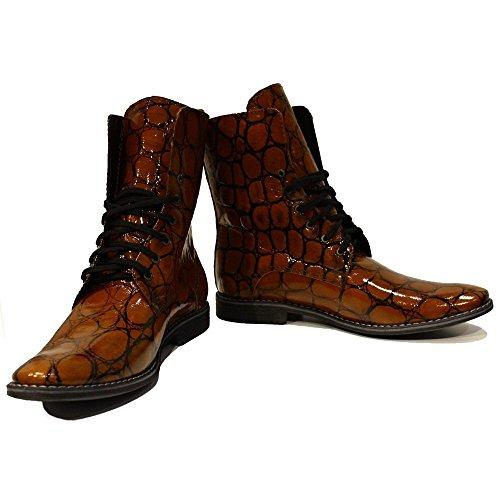 PeppeShoes Modello Cristoforo - Handmade Italiano da Uomo in Pelle Marrone Stivali Alti - Vacchetta Pelle di Brevetto - Allacciare