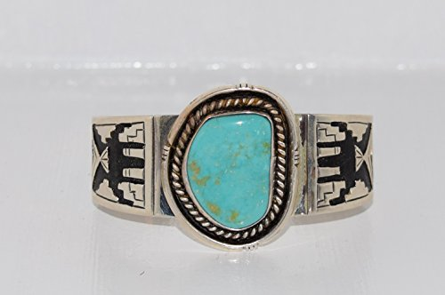 Gorgeous Turquoise Bracelet with Overlay Design