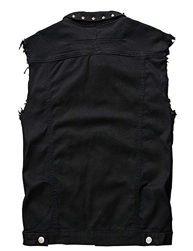 - Rising ON Men's Punk Denim Vest Sleeveless Jean Rising ON with Rivets,S=Tag(Asian),Black