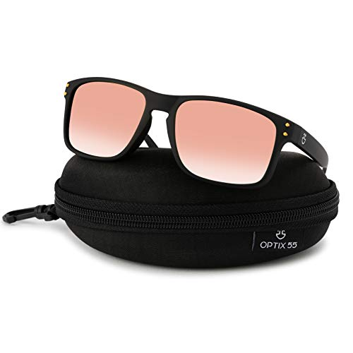 Polarized Sunglasses For Men | Fashion Retro Sun Glasses With PC Frame & Rubber Finish, Square Shades with Polarized Lens & REVO Coating | Includes Case ()
