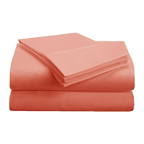 Pink Sateen Cotton Robe - Superior 1500 Series Premium Quality 100% Brushed Soft Microfiber 3-Piece Luxury Deep Pocket Cooling Bed Sheet Set, Hypoallergenic, Wrinkle and Stain Resistant - Twin XL, Coral