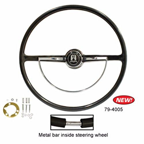 - Stock VW Design Replacement Black Steering Wheel Kit T-1, Ghia, Type-3 1962-1971