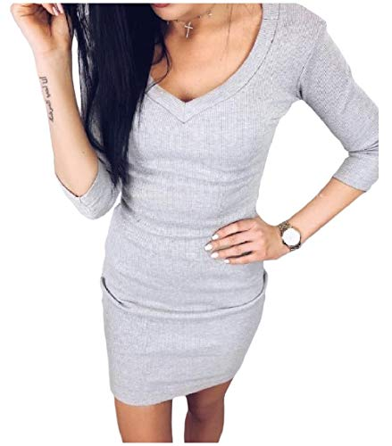 Knitwear Sleeve Neck Pure Dresses Step Grey 3 Light Silm Women V Coolred Sexy One 4 nXPqHfwxZ8