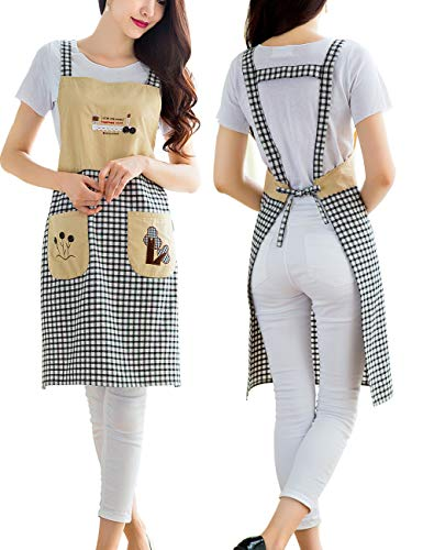 Kinsley Cute Cooking Apron for Women - Cotton Personalized Bib Aprons with Pockets for Chef,Waitress,Grandma Suitable for Baking,Grilling,Painting Even Fit for Arts,Holiday(Print Black Plaid)