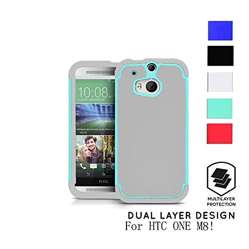 HTC One M8 Case, Premium Ultra Slim Fit Flexible TPU Case[Drop Protection][shockproof][Rugged] Rubber+Hard case cover and Dual Layer (Htc One M8 Premium Case)