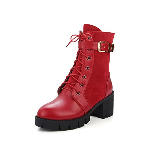 Allhqfashion Women's Round Closed Toe Low-Top Kitten-Heels Solid Blend Materials Boots Red 7Y17kk