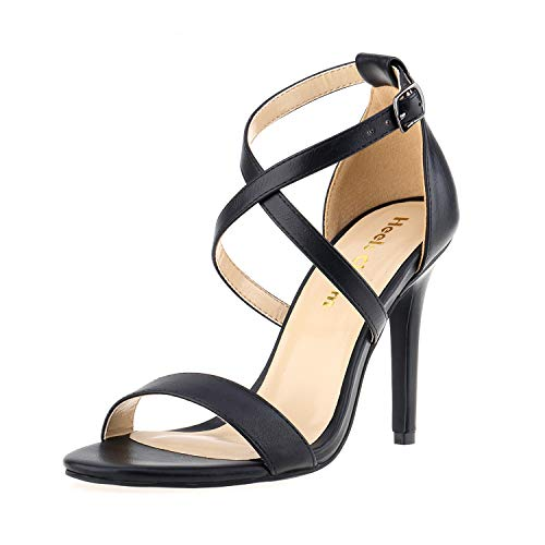 - Women's Stiletto Open Toe Cross Strappy Heeled Sandals Ankle Strap High Heels 3.94 Inches Dress Party Wedding Work Daily Shoes Black Size 9