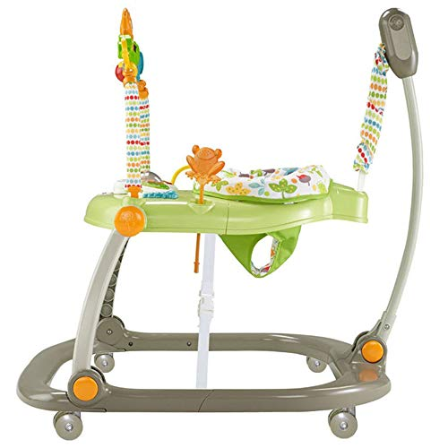 Baby Walker Assitant Harness Play Tray Seat Toy Set Learn to Walk Chair Foldable with Rotating Wheel,Green