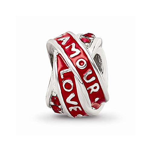 925 Sterling Silver Charm For Bracelet Love/amour Red Swarovski Crystal Bead Love Stone Fine Jewelry For Women Gifts For Her