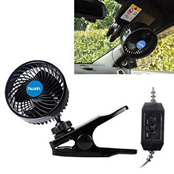 Uniqus HUXIN HX-T601 4W 4.5inch 360 Degree Adjustable redation Clip One Head Low Noise Mini Electric Car Fan with Gear Switch, DC12V