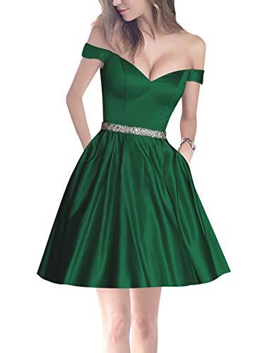 Bess Bridal Party Shoulder Green Homecoming Dark Beaded Mini Women's Pockets Off Prom gACqxrBgw