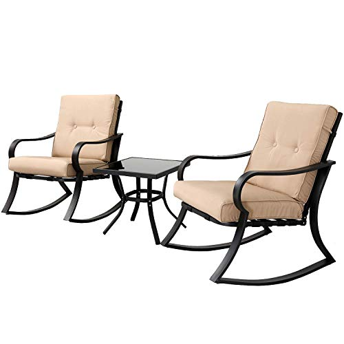 SOLAURA Outdoor Rocking Chairs Bistro Set 3-Piece Black Steel Furniture with Brown Thickened Cushion & Glass Coffee Table (Best Price Garden Furniture)