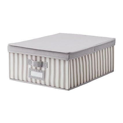 IKEA SVIRA - caja con tapa, gris, blanco rayas