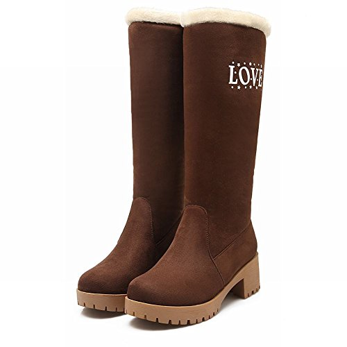 Decorations Carolbar Boots Snow Heel Fashion Winter Womens Metal Mid Brown Warm Alphabets S7wfOq7