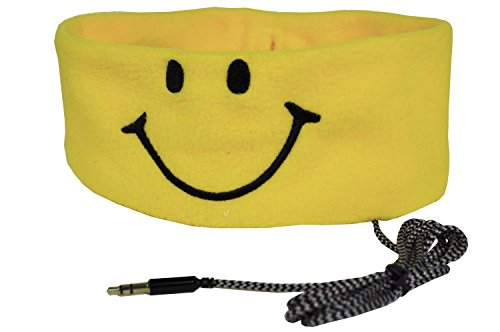 CozyPhones Kids Smiley Headphones - Super Comfortable and Soft Fleece Headbands. Perfect for Travel and Home
