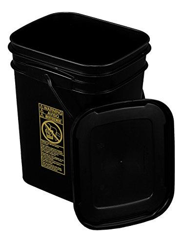 Black Rectangular Bucket 5.3-Gallon Bucket with Black Snap-on (Dimensions 5 Gallon Bucket)