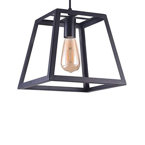 Wideskall 1-Bulb Industrial Square Lantern Mini Pendant Lighting Fixture, 10-inch Shade, Matte Black Finish