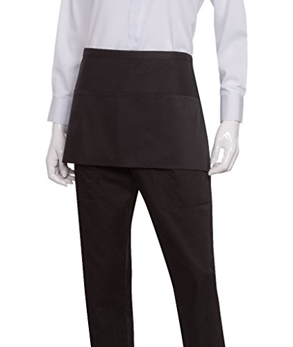 Chef Works Waist Apron, Black, 12-Inch Length by 23-Inch Width - Extra Length Waist Apron
