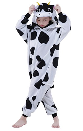 [NEWCOSPLAY Halloween Unisex Children Cow Animal Cosplay Costume (S, Cow)] (Kids Cow Nose)