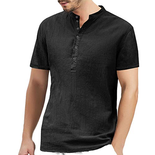 (Men's Fashion Personality Pocket Short Sleeves Pure Color Top Summer Button Polo t Shirt)