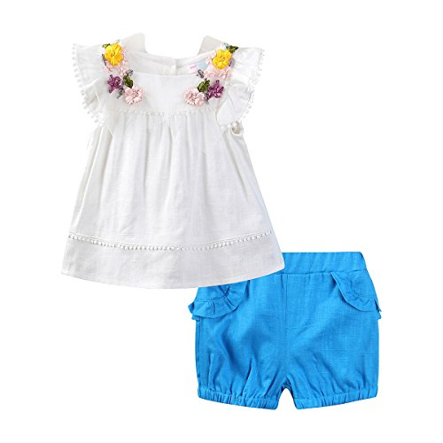 Butterfly Short Set (Mud Kingdom Little Girl Outfits Butterfly Sleeve Shirt and Short Clothes Sets 2T Blue)