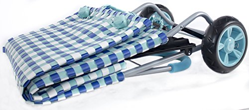 dbest products Trolley Dolly Basket Weave Tote, Blue Shopping Grocery Foldable Cart Picnic Beach by dbest products (Image #3)