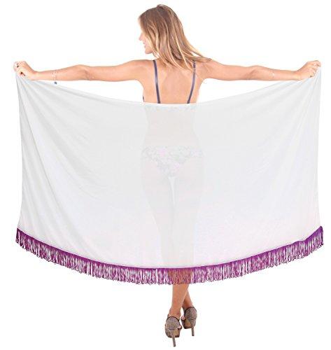 LA LEELA gonna beachwear tuta costumi da bagno involucro pareo insabbiamento da bagno delle donne di piscina resortwear costume da bagno sarong Bianco_h210